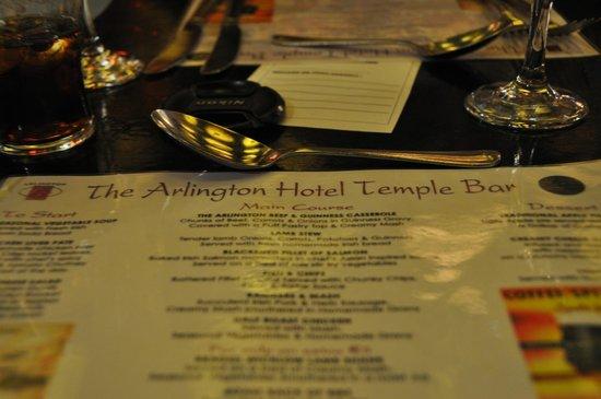 Arlington Hotel Temple Bar: Menu for adults