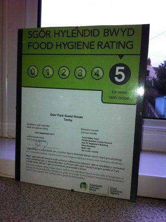 Beachcomber B&B: Grade 5 Food Hygiene