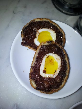Gee's Restaurant :                   Black pudding scotch quails egg