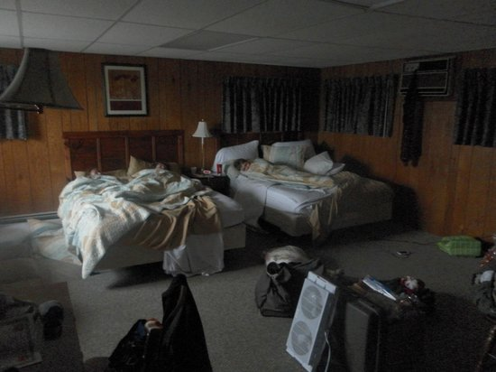 Mount Blue Motel:                   Our room, the farthest on the left. Two very comfy queen beds and a sofa bed.