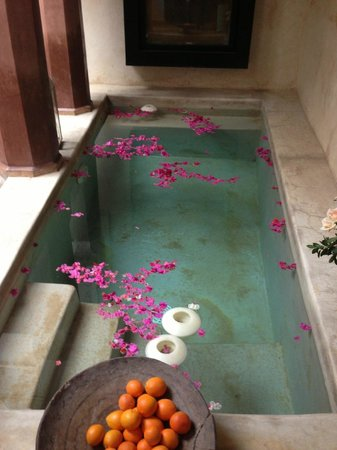 Zamzam Riad:                   The pool with Bougainvillea petals scattered