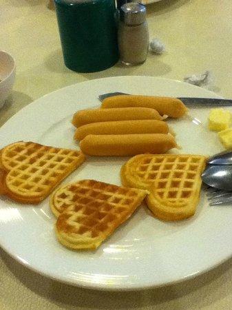 Golden Beach:                   Heart-shaped waffles breakfast (Taste great with great shape)