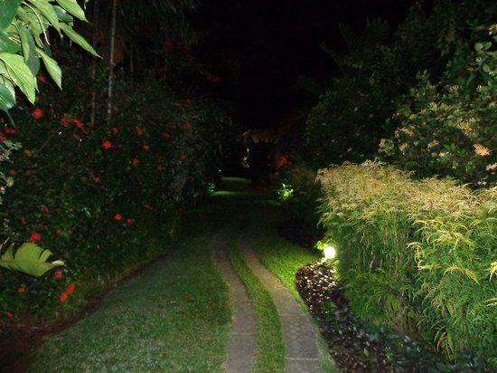 Kariwak Village Holistic Haven and Hotel:                   on the way to our garden side room at night.