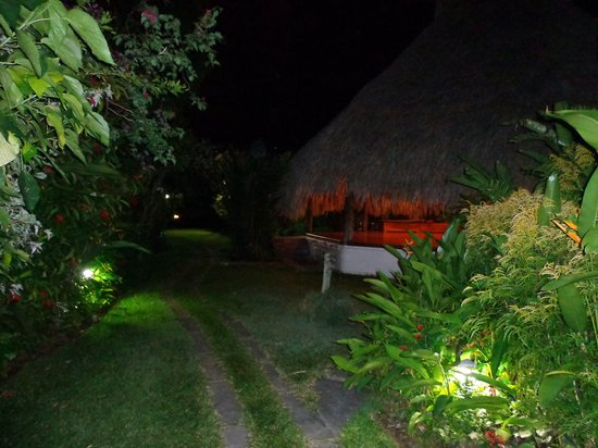 Kariwak Village Holistic Haven and Hotel:                   the garden and the Yoga Pagoda at night