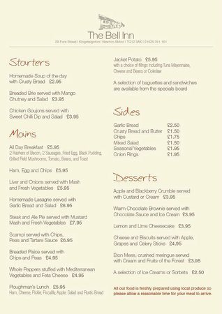 Kingsteignton, UK: Lunchtime menu