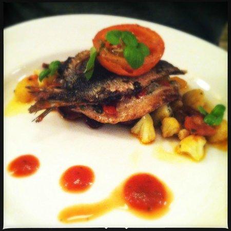 Prix Fixe Brasserie: Sardines stuffed with roast pepper, chili, coriander served with cauliflower, chorizo and slow r