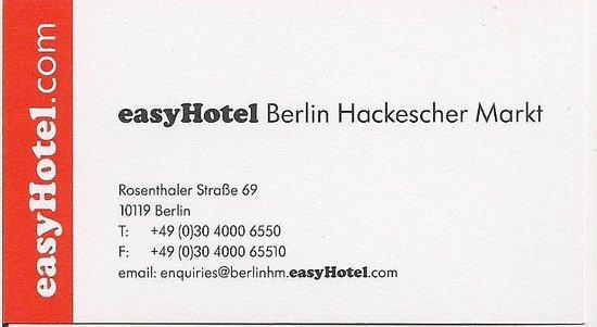 easyHotel Berlin Hackescher Markt:                                     Hotel contact information