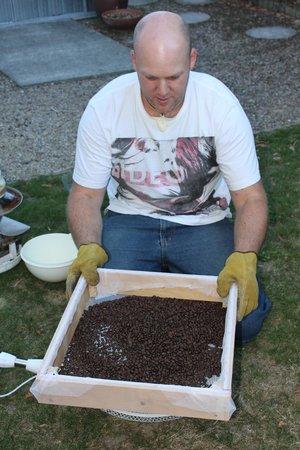 Rev's Retreat:                   Matt roasting coffee beans