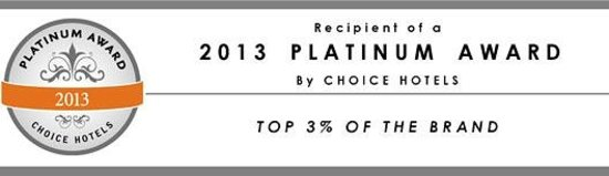 Comfort Suites Hotel & Convention Center Rapid City: 2012 Choice Hotels Platinum Award!