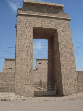 Avenue of Sphinxes - entrance in front of pylon of Khonsu temple