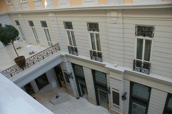 Corinthia Hotel Budapest:                                     View from room to cafe in atrium area                     