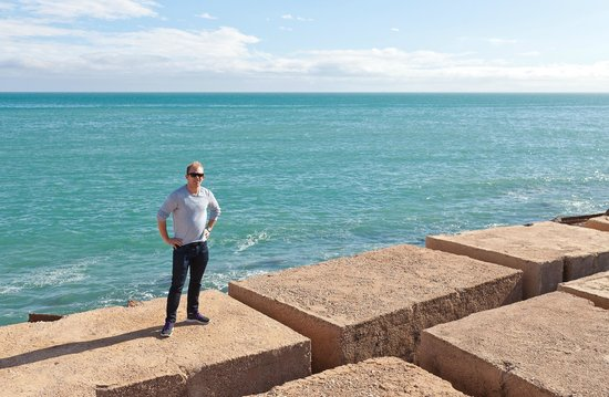 Dique de Levante Breakwater: Another pic of me on the stones.