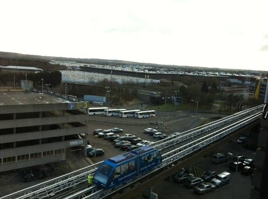 Hotel ibis budget Birmingham Airport:                   View from the room: sky train to the NEC