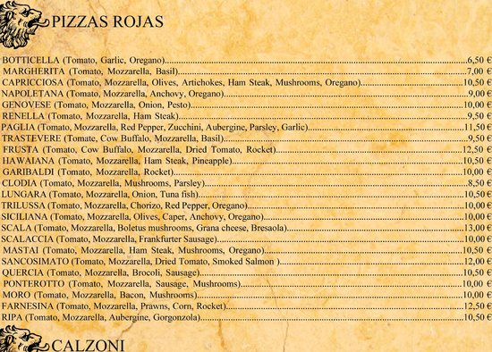 San Jose, Ισπανία: Menu/Carta pizzas rojas
