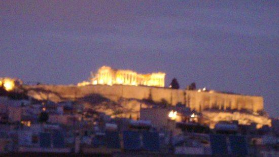 Ilissos Hotel:                   Rooftop Terrace view of Parthenon