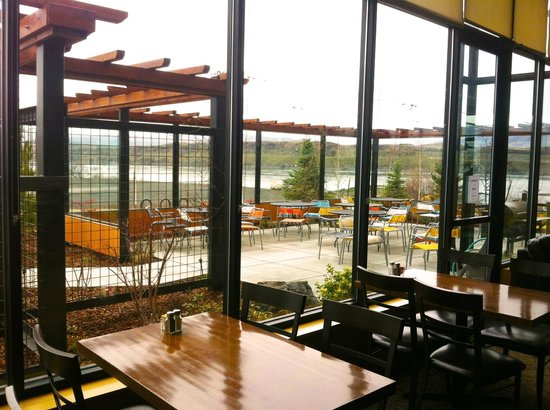 The Bistro at Water's Edge: View from inside of the restaurant out to the patio. Beautiful view of the gorge!