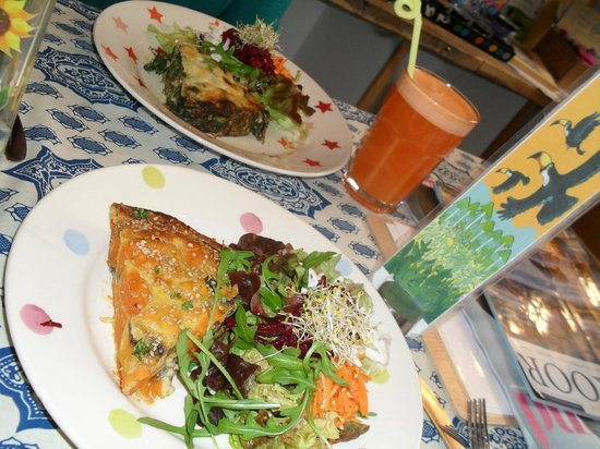 The Toucan Cafe:                   quiches, salads and fresh 'ginger spice' juice