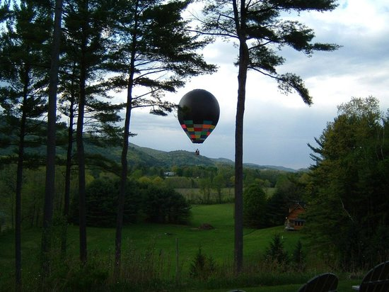 Breakfast on the Connecticut: Balloon flying low over the property