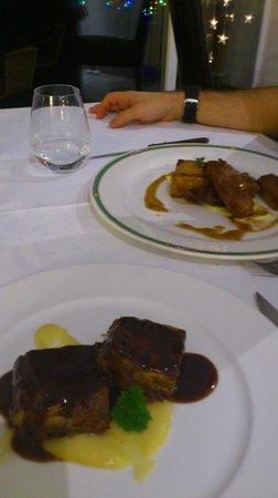 El Milano Real:                   brownie de ternera y presa iberica