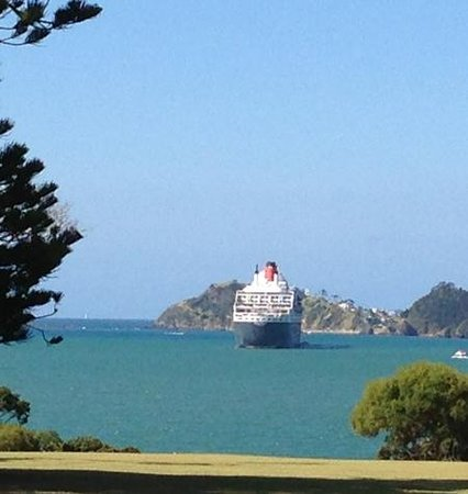 Waitangi Treaty Grounds:                   QM2 as seen from the Treaty Ground.