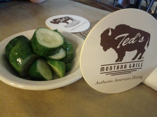 Ted's Montana Grill: Complimentary Slightly-Pickled Cucumber Chunks