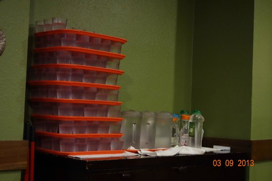 So Gong Dong Tofu House:                   Cold Water Cups Stacked Together to serve newly arrived customers
