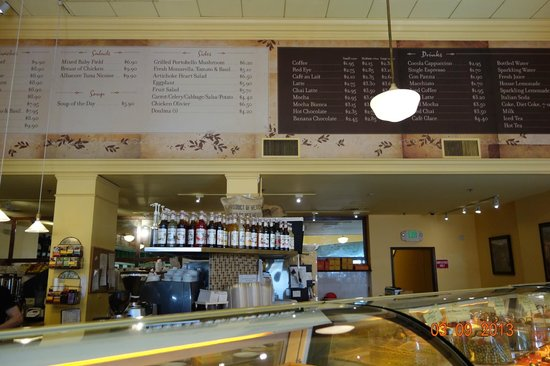 Cocola Bakery:                   Menu behind cash counter