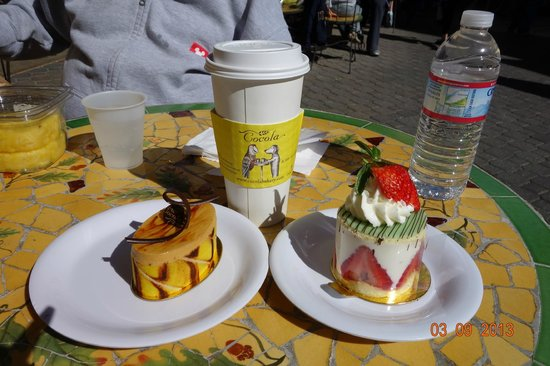 Cocola Bakery:                   My food, Latte, Carmel Chocolate & Strawberry Cakes