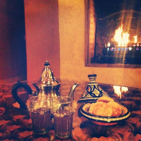 Riad Camilia:                   Mint tea and pastries by the fireplace