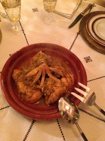 Riad Camilia:                   Our dinner: Chicken with Candied lemon!