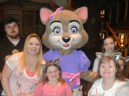"Great Wolf Lodge Concord:                                     Our family at check in, with ""Violet the Wolf"""