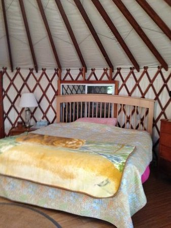 Rainbow Hearth Sanctuary and Retreat: king size bed in the yurt.