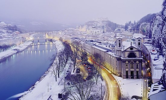 Snow covered city of Salzburg