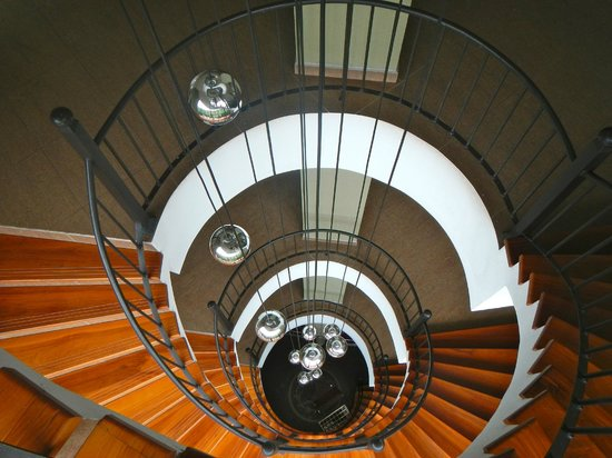 The Royal Corin Thermal Water Spa & Resort:                   Spiral staircase from the top floor lounge looking down