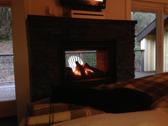 Farmhouse Inn & Restaurant: Charlotte on bed, fireplace & balcony