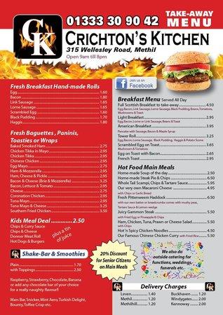 Crichton's Kitchen: take-away menu