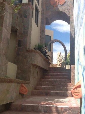 Castillo Blarney Inn:                   walkway from pool