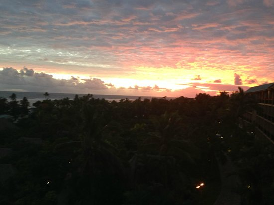 Outrigger Fiji Beach Resort:                   sunset view from reception balcony