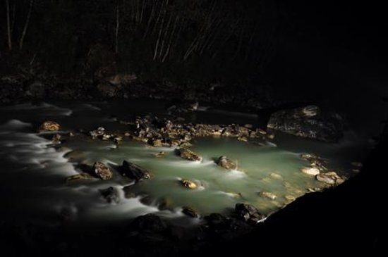 Gati, Nepal:                   night view of bhote kosi river