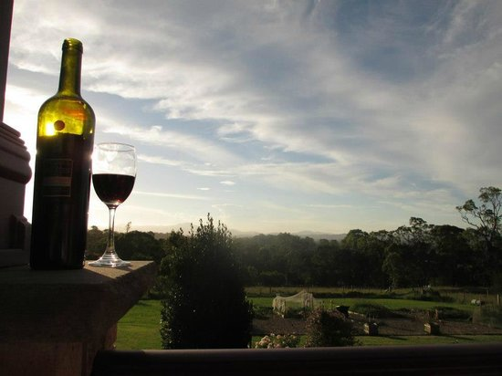 Bryn Glas Bed and Breakfast:                   A glass of red on the deck