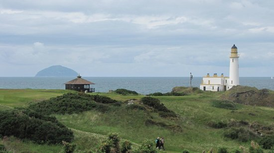 Gardenrose B&B: View across Turnberry Golf Course towards Ailsa Craig and the Lighthouse