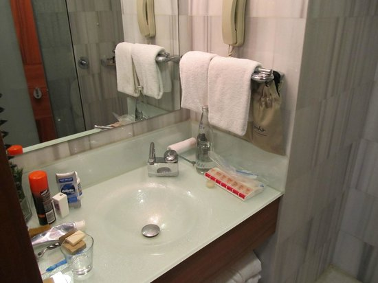 Biz Cevahir Hotel:                   Bathroom sink (sorry for the clutter)