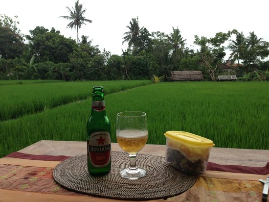 Bayu Guest House:                   `Happy hours' beer and snack at my terrace