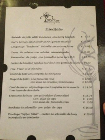 Pinotage Restaurante and Cafe: Carta