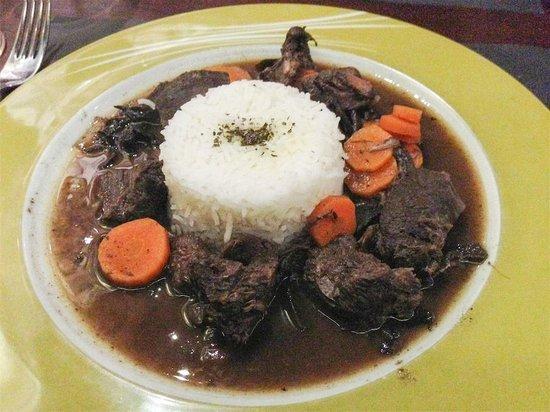 Pinotage Restaurante and Cafe: Ciervo guisado con arroz
