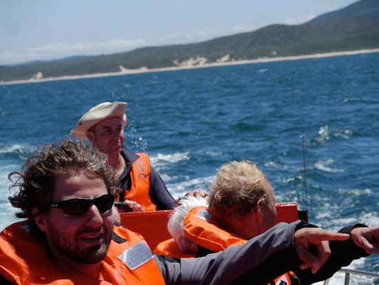 Discover Knysna:                   On the boat with Karl in the back