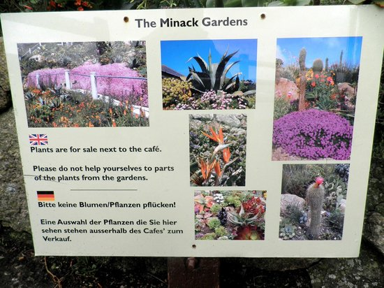 Minack Theatre:                   Signage at the Minack Garden