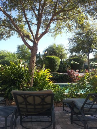 Holiday Inn Club Vacations At Orange Lake Resort:                                     View of Lazy River from private pool deck.