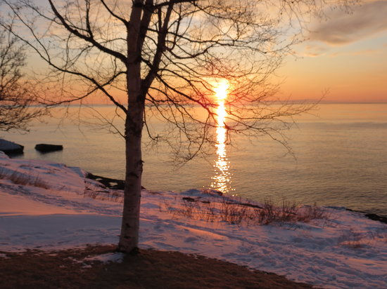 Bluefin Bay on Lake Superior:                   Sunrise at Bluefin in February