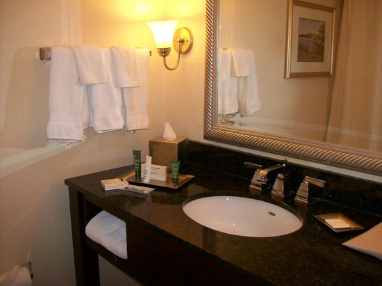 Hilton Woodcliff Lake: Bathroom Sink, Vanity, Towel Rack, Also Towels in Vanity